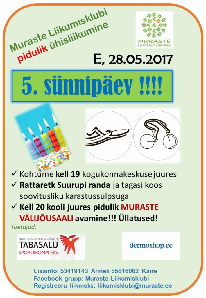 5 sünnipäev ja välijõusaali avamine 28.05.18